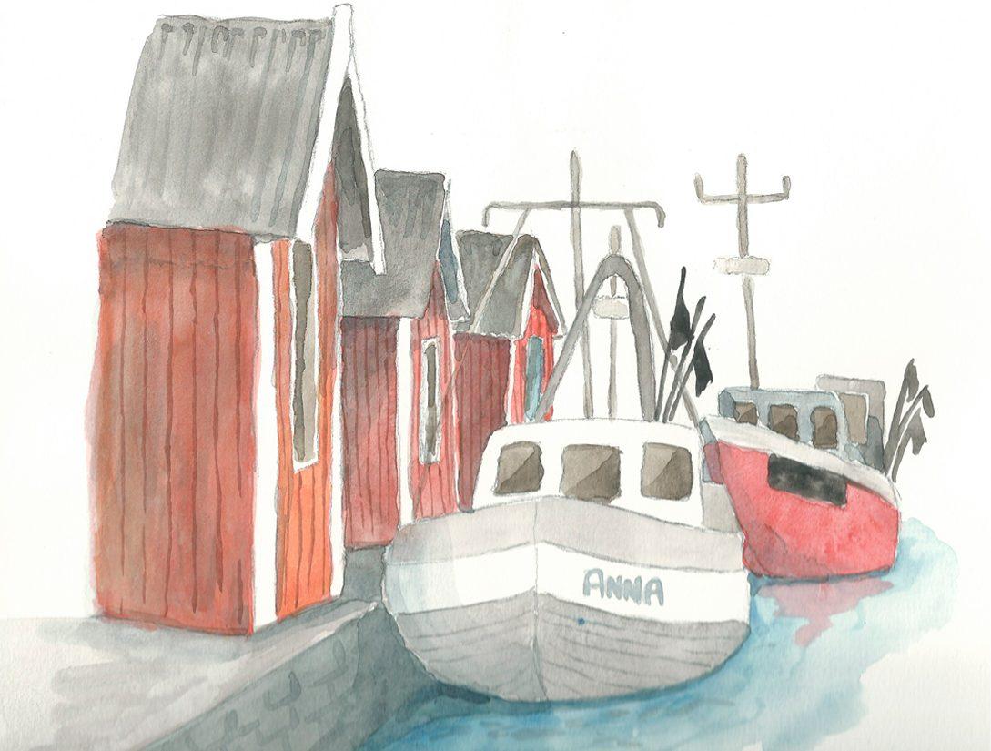 Akvarell från Lomma hamn