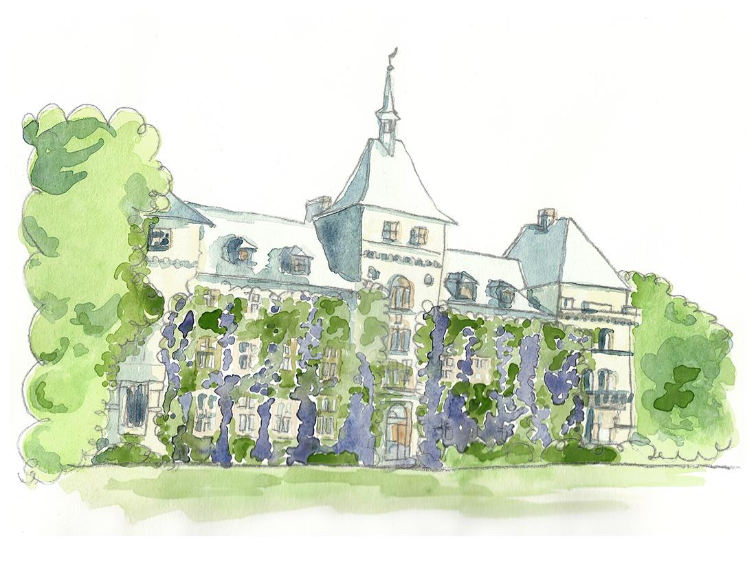 Akvarell av Alnarp slott Lomma kommuns turistbroschyr