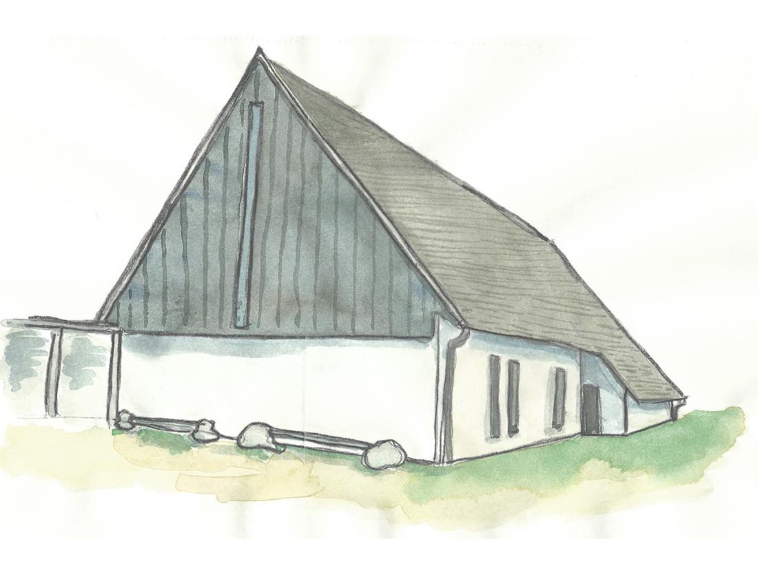 Akvarell av Bjärred Kyrka