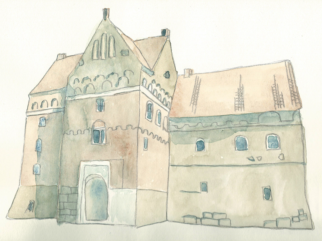 Akvarell av Borgeby slott Lomma kommuns turistbroschyr