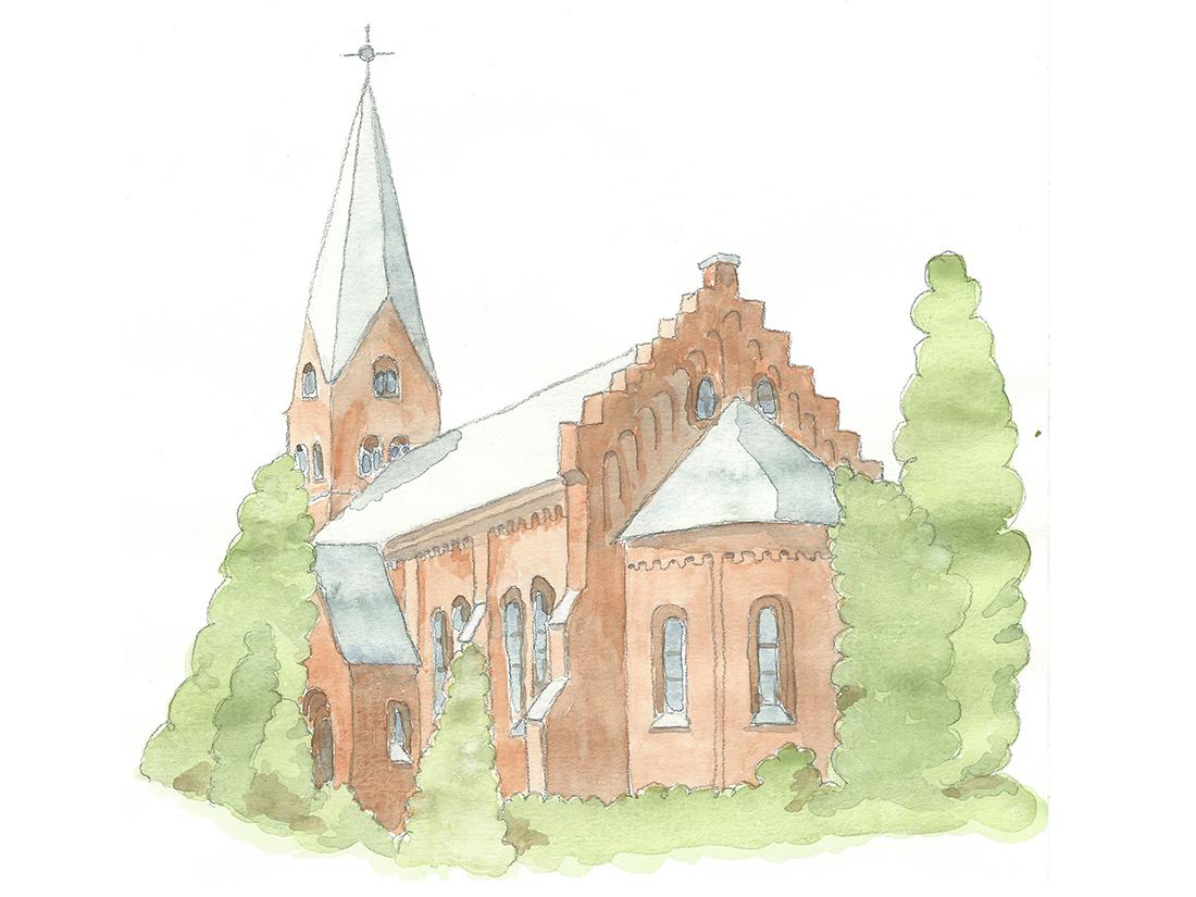 Akvarell av Flädie kyrka